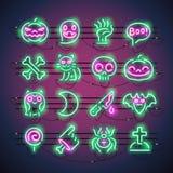 Halloweenowe Neonowe ikony Obraz Royalty Free