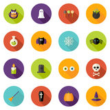 Halloweenowe Płaskie okrąg ikony Ustawiać Obraz Royalty Free