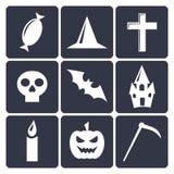 Halloweenowe płaskie wektorowe ikony. Set 1 Fotografia Royalty Free
