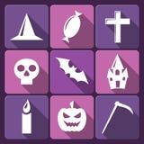 Halloweenowe płaskie wektorowe ikony z długim cieniem. Set Zdjęcia Stock