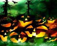 Halloweenowe pomarańczowe banie i ciemnozielony las przy nocą ilustracji