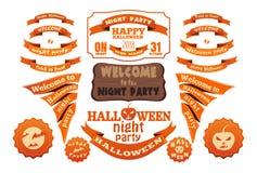 Halloweenowe pomarańczowe wektor etykietki, faborki ustawiający i zdjęcia stock