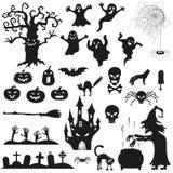 Halloweenowe straszne czarne sylwetki ilustracji