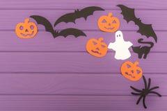 Halloweenowe sylwetki cią z papieru robić kąt rama Obraz Royalty Free