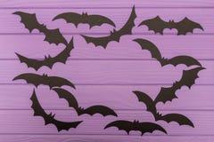 Halloweenowe sylwetki cią z papieru robić round rama Obraz Stock