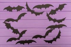 Halloweenowe sylwetki cią z papieru robić round rama Obrazy Royalty Free