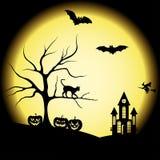 Halloweenowe sylwetki i księżyc w pełni Zdjęcia Stock
