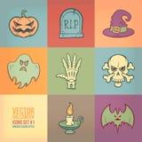 Halloweenowe Wektorowe ikony Ustawiać Obraz Stock