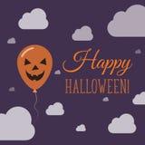Halloweenowego balonu mieszkania pojedynczy kartka z pozdrowieniami Zdjęcia Royalty Free