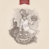 Halloweenowego czarownica kota rytownictwa stylu dyniowy handdrawn szablon ilustracja wektor