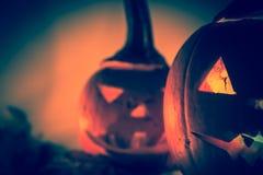 Halloweenowego dyniowego lampionu zmroku światła twarzy gniewny spadek Obraz Royalty Free