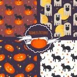 Halloweenowego pojęcia bezszwowi wzory ustawiający Zdjęcia Royalty Free