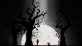 Halloweenowego strasznego tła biały temat z drzewem, księżyc, nietoperzami, żywy trup ręką i cmentarzem strasznymi, Zdjęcia Stock