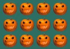 Halloweenowego tła geometrical rzędy jaskrawe pomarańczowe banie rzeźbili jarzyć się Jack o latarniową twarz na ciemnozielonym be ilustracja wektor