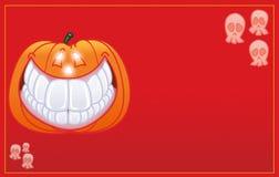 Halloweenowej bani uśmiechnięta karta Zdjęcie Royalty Free