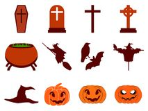 Halloweenowej ikony ustalony mieszkanie odizolowywający na białym tle wektor Zdjęcie Stock