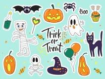 Halloweenowej mody kreskówki doodle łaty śliczne odznaki z duchami, kotem, pająkiem, baniami i innymi elementami, ustawić naklejk Zdjęcia Stock