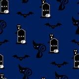 Halloweenowej nocy bezszwowy deseniowy tło Obrazy Royalty Free