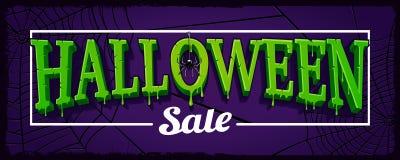 Halloweenowej sprzedaży horyzontalny sztandar z siecią pająk Zdjęcie Stock