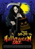 Halloweenowej sprzedaży oferty projekta plakatowy pojęcie Obrazy Royalty Free