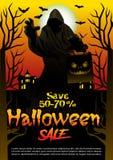 Halloweenowej sprzedaży oferty projekta plakatowy pojęcie Zdjęcia Stock