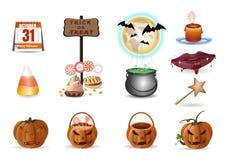 Halloweenowej wielo- barwionej kreskówki wektorowe ikony ustawiać obrazy stock