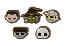 Halloweenowi śliczni postać z kreskówki ciastka Zdjęcia Royalty Free