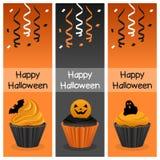 Halloweenowi babeczki Vertical sztandary Zdjęcia Royalty Free