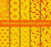 Halloweenowi bezszwowi wzory ustawiający Wzór z Lampowym Jack, nietoperzami i czarownicą, symbole halloween wektor Fotografia Stock