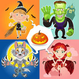 Halloweenowi charaktery Zdjęcia Royalty Free