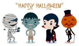 Halloweenowi charaktery na białym tle Obrazy Stock
