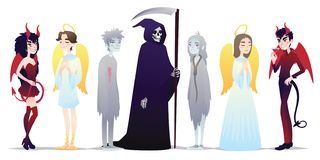 Halloweenowi charaktery w kreskówka stylu Wektorowa ilustracja grupa młodzi ludzie ubierający w górę Halloween maskarady dla ilustracja wektor