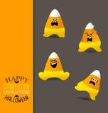Halloweenowi cukierek kukurudzy kształtni charaktery ilustracja wektor