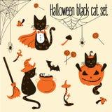 Halloweenowi Czarni koty Trikowi lub funda przedmioty Royalty Ilustracja