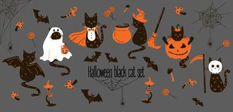 Halloweenowi Czarni koty Trikowi lub funda przedmioty Ilustracja Wektor