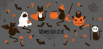 Halloweenowi Czarni koty Trikowi lub funda przedmioty Ilustracji
