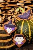 Halloweenowi domowej roboty piernikowi ciastka na drewnianym tle Zdjęcia Royalty Free