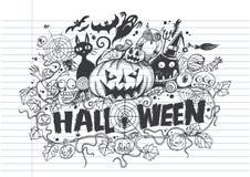 Halloweenowi doodles Śliczny pociągany ręcznie Zdjęcie Royalty Free