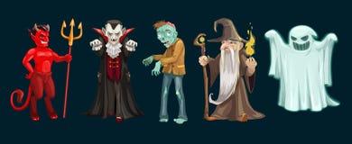 Halloweenowi ducha, wampira i żywego trupu charaktery, ilustracja wektor