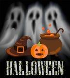 Halloweenowi duchy i Apparitions plakata wektor ilustracja wektor
