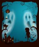 Halloweenowi duchy i noc Straszny Cmentarniany wektor ilustracji