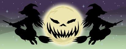 Halloweenowi dwa sztandaru latające czarownicy Zdjęcia Royalty Free