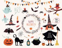Halloweenowi elementy Inkasowi fotografia stock