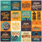 Halloweenowi emblematy ustawiający Zdjęcia Stock