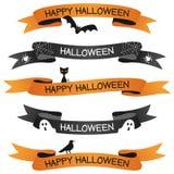 Halloweenowi faborki lub sztandary Ustawiający Zdjęcie Stock