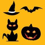 Halloweenowi ikon bani nietoperzy koty kapeluszowi ilustracja wektor