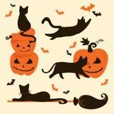 Halloweenowi koty i banie Trikowa lub funda karta Royalty Ilustracja