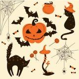 Halloweenowi koty i banie Trikowy lub funda przedmiot Royalty Ilustracja