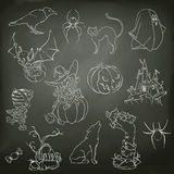 Halloweenowi nakreślenia ikony Zdjęcie Stock