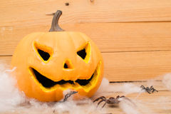 Halloweenowi pająki i bania Obrazy Stock